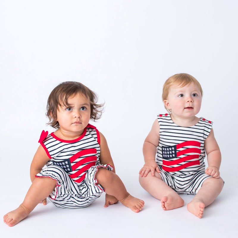 Applique American Flag Boy's Shortall and Girls's Romper