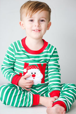 Applique Christmas Green & White Stripe Joy Unisex Loungewear