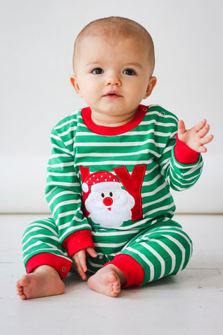 Applique Christmas Green & White Stripe Joy Unisex Romper Loungewear