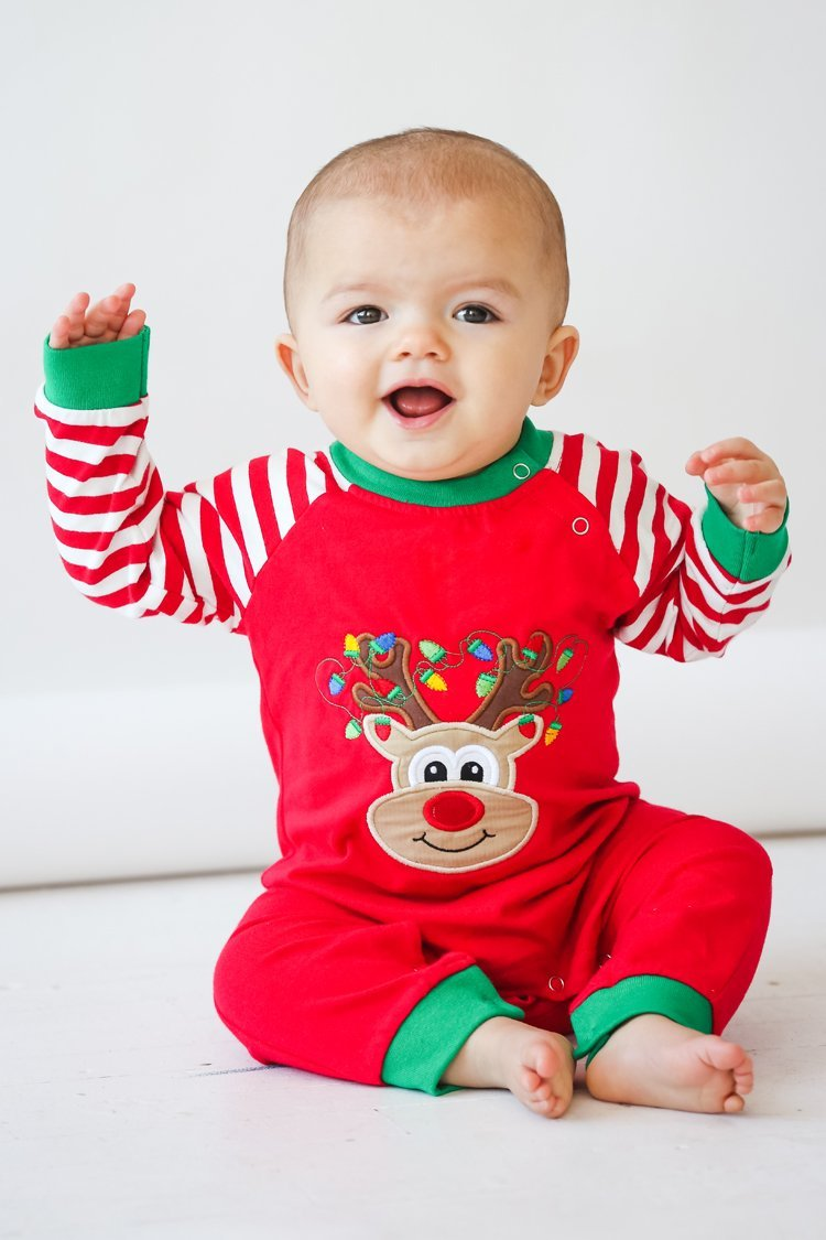 a19e05c90ef1 This and That for Kids Applique Rudolph Red   White Stripe Unisex ...