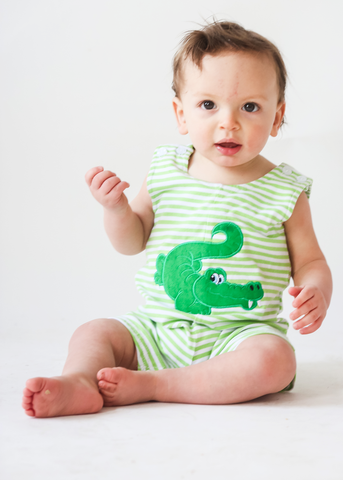 43-S19 Applique Alligator Boy's Shortall
