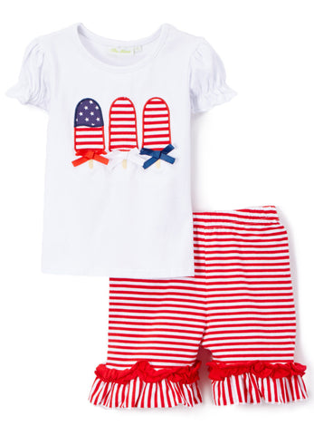 Girl's Comfy Knit Applique Popsicle Fourth of JulyShort Set