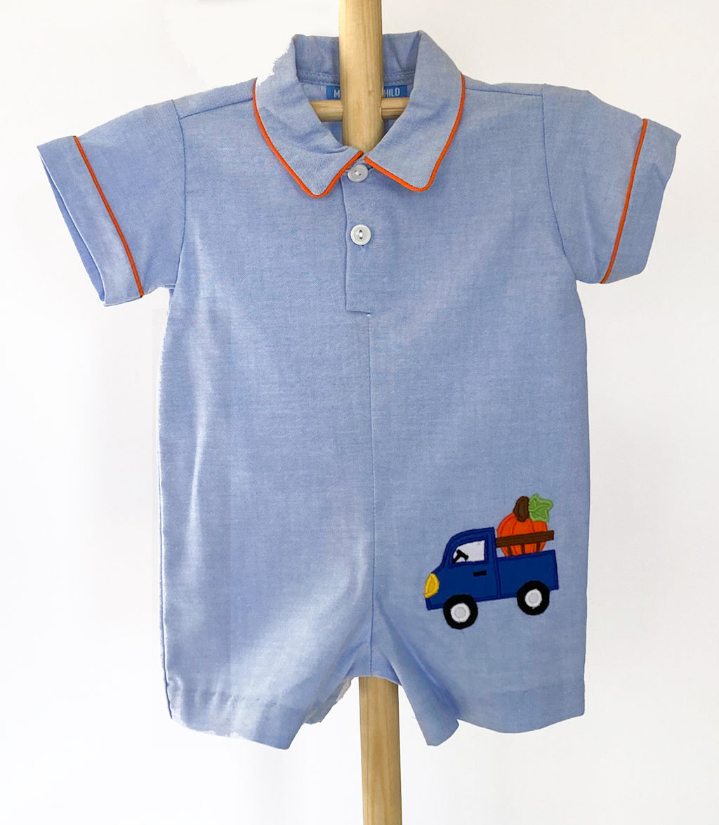 Applique Truck Boys Romper