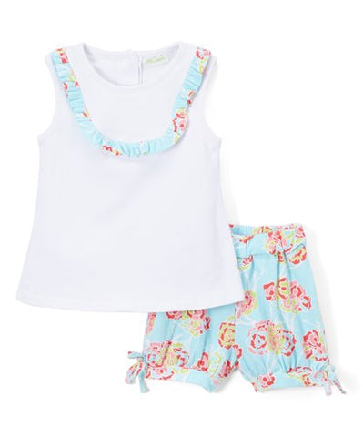 Girl's White & Floral Shorts Set
