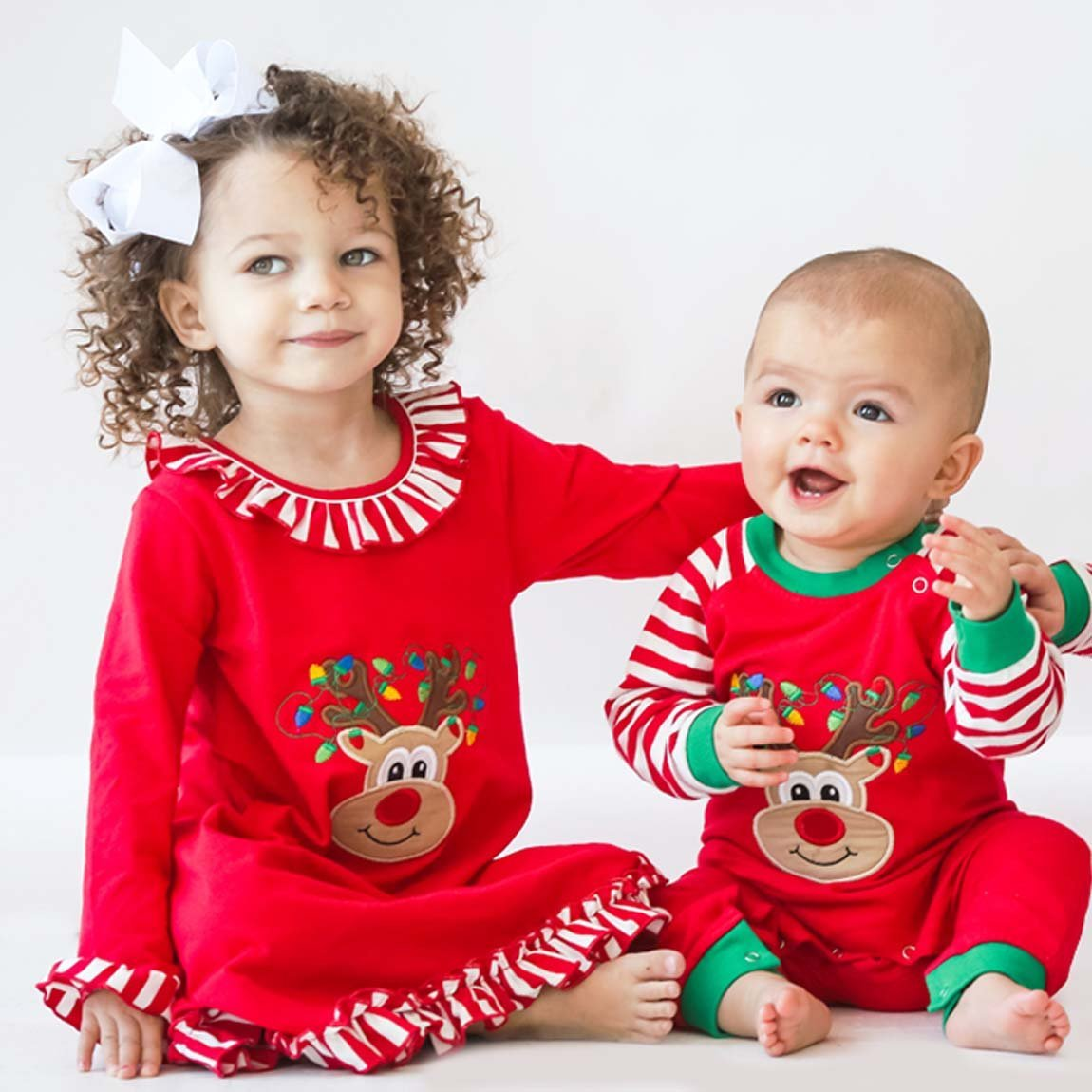 Applique Christmas Red & White Stripe Rudolph Unisex Romper Loungewear