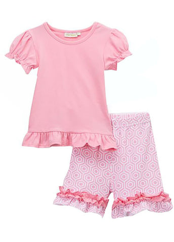 Girls Pink Top with Pink Ruffle Short Set