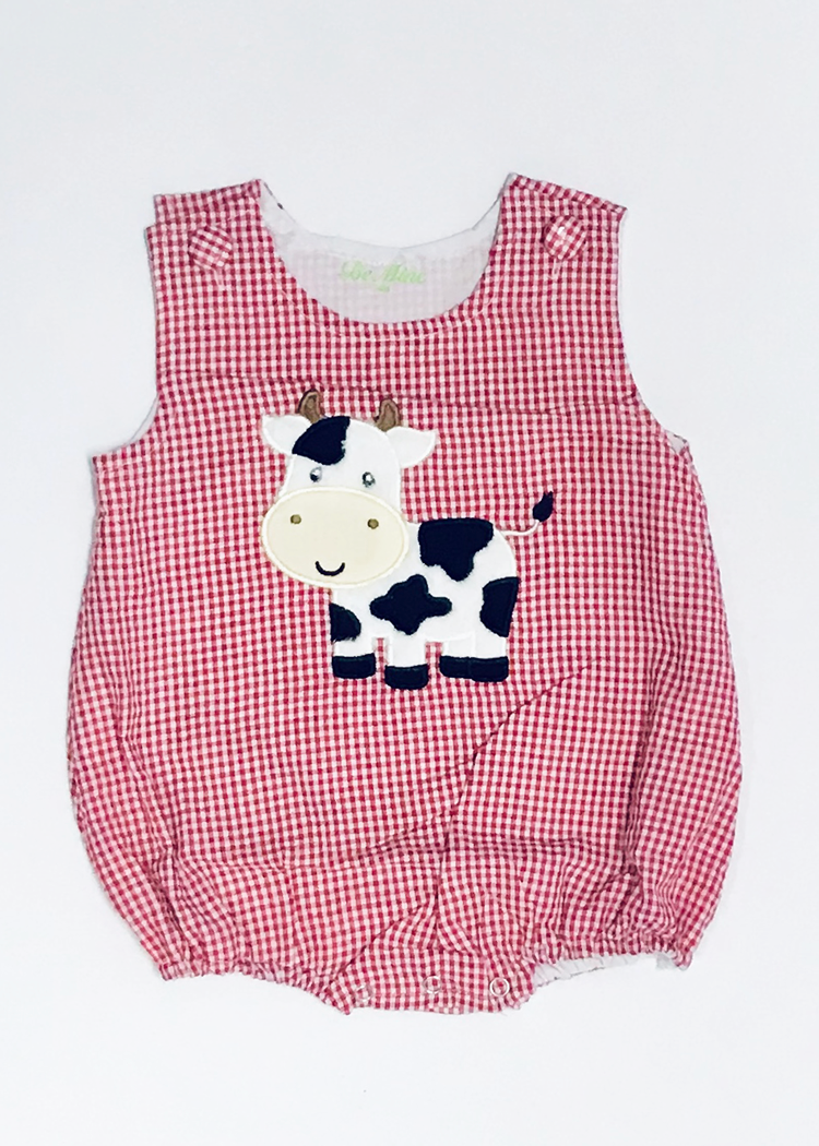 56-S19 Applique Cow Red Seersucker Boy's Bubble