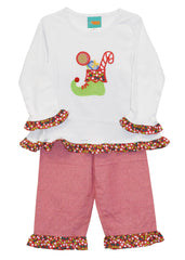 Girl's Applique Christmas Stocking Holiday Pant Set