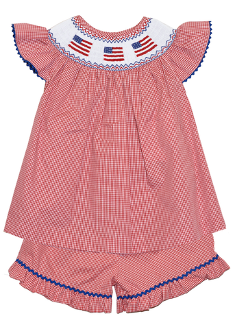 Girl's Hand Smocked American Flag Short Set