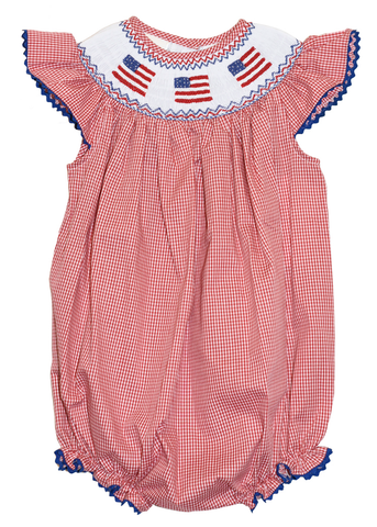 Girl's Hand Smocked American Flag Bubble