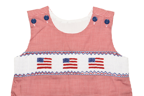 Boy's Hand Smocked Fourth of July Bubble