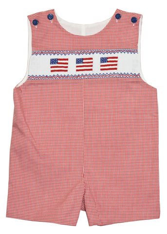 Boy's Hand Smocked Fourth of July  Summer Overall