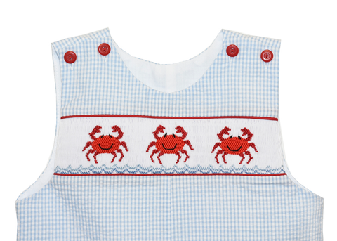 Boy's Hand Smocked Crab Summer Overall