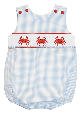 Boy's Hand Smocked Crab Bubble