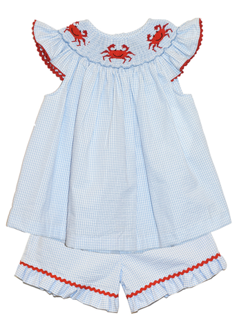 Girl's Hand Smocked Crab Short Set