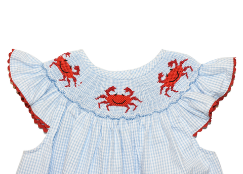 Girl's Hand Smocked Crab Summer Bubble