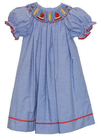 Girls Hand Smocked Back to School Bishop Dress