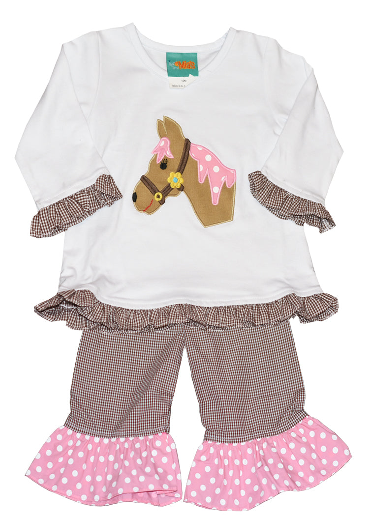 Girl's Applique Horse Brown & Pink Pant Set