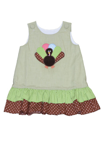 Girl's Applique Turkey Green A Line Dress