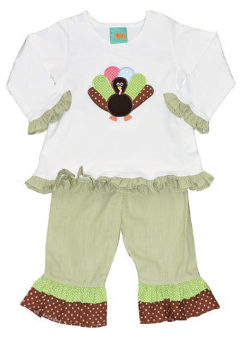 Girl's Applique Turkey Green Pants Set