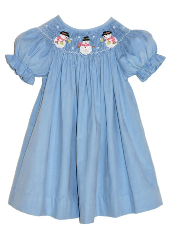 Hand Smocked Snowman Lt Blue Girl's Bishop Dress