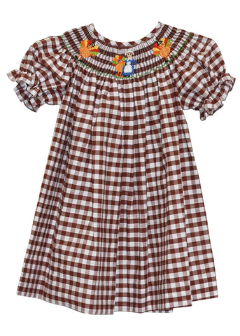 Hand Smocked Pilgrim & Turkey Brown Girl's Bishop Dress