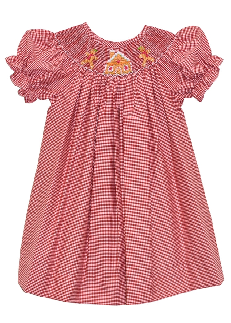 Girls Hand Smocked Gingerbread House Holiday Bishop Dress