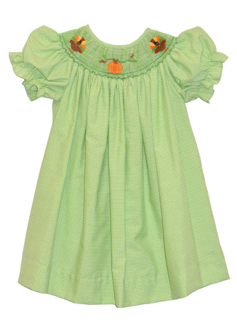 Hand Smocked Pumpkin and Turkey Girl's Bishop Dress