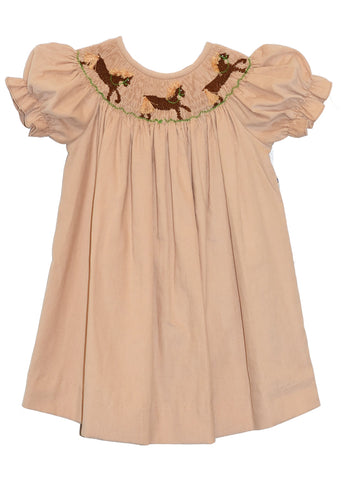 Hand Smocked Horses Beige Girl's Bishop Dress