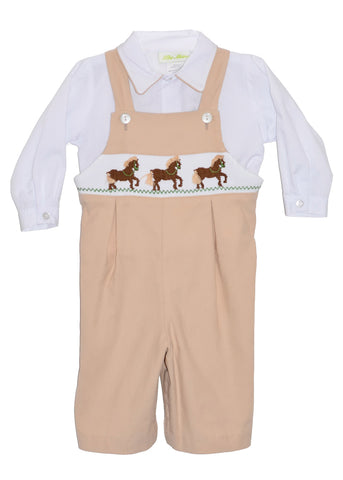 Boys Hand Smocked Brown Horses Longall