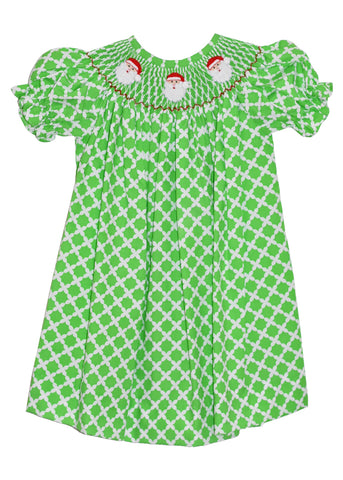 Girls Hand Smocked Santa Face Green Arabesque Bishop Dress