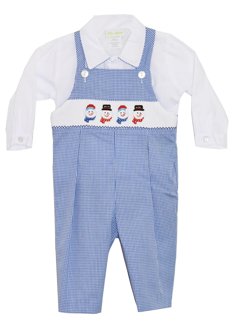 Boys Hand Smocked Snowman Blue GIngham Longall with Shirt
