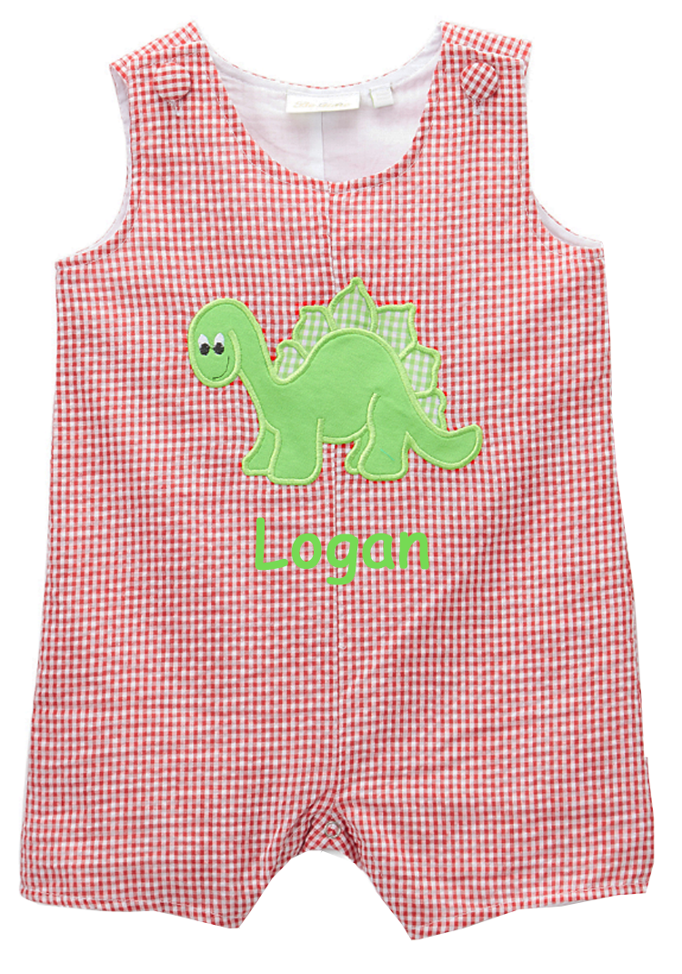 Personalized Applique Dinosaur Boy's Shortall