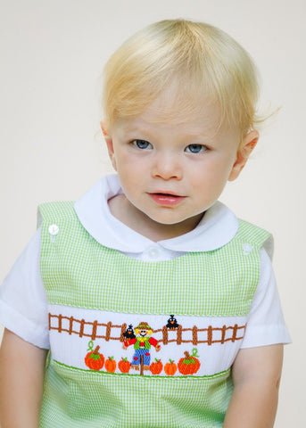 Hand Smocked Scarecrow Green Gingham Longall