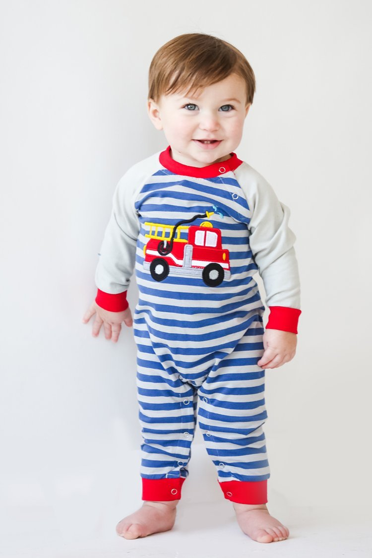 Boy's Applique Firetruck Long Sleeve Romper for boys