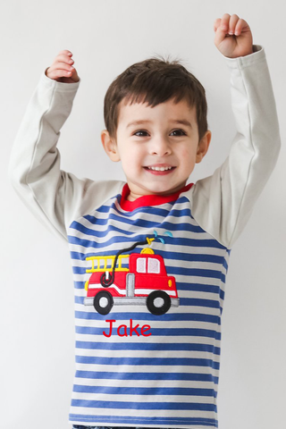 Boy's Applique Firetruck Long Sleeve t-shirt