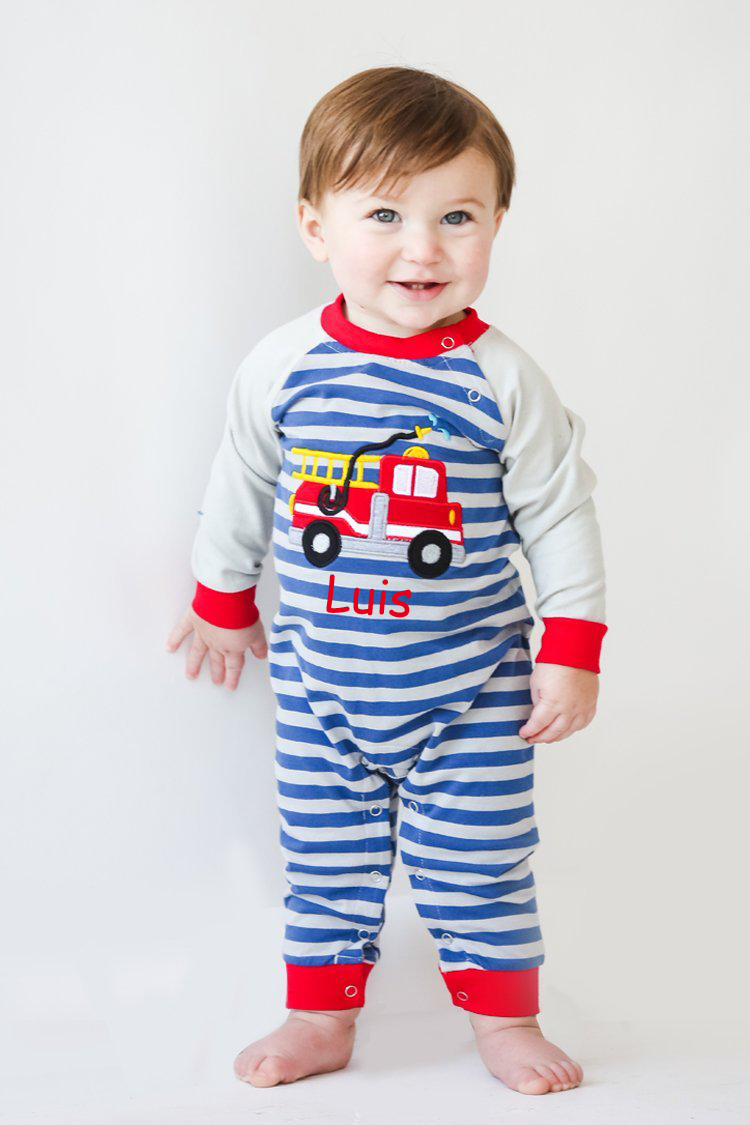Boy's Monogram Applique Firetruck Long Sleeve Romper