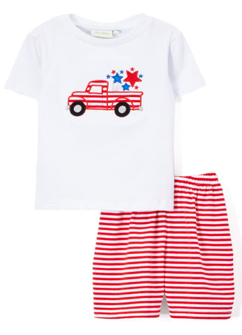 Boy's Applique Fourth of July Truck Knit Short Set