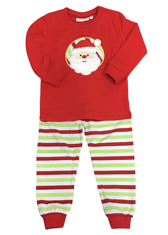 Applique Santa Red, White & Green Stripes Unisex Loungewear