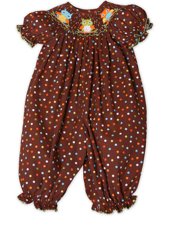 Hand Smocked Owls Brown & Color Dots Girls Long Bubble