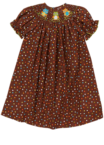 Hand Smocked Owls Brown Color Polkadots Girl's Bishop Dress