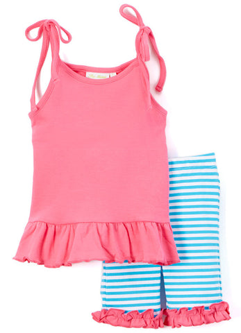 Girl's Comfy Knit Hot Pink and Turquoise Stripe Biker Short Set