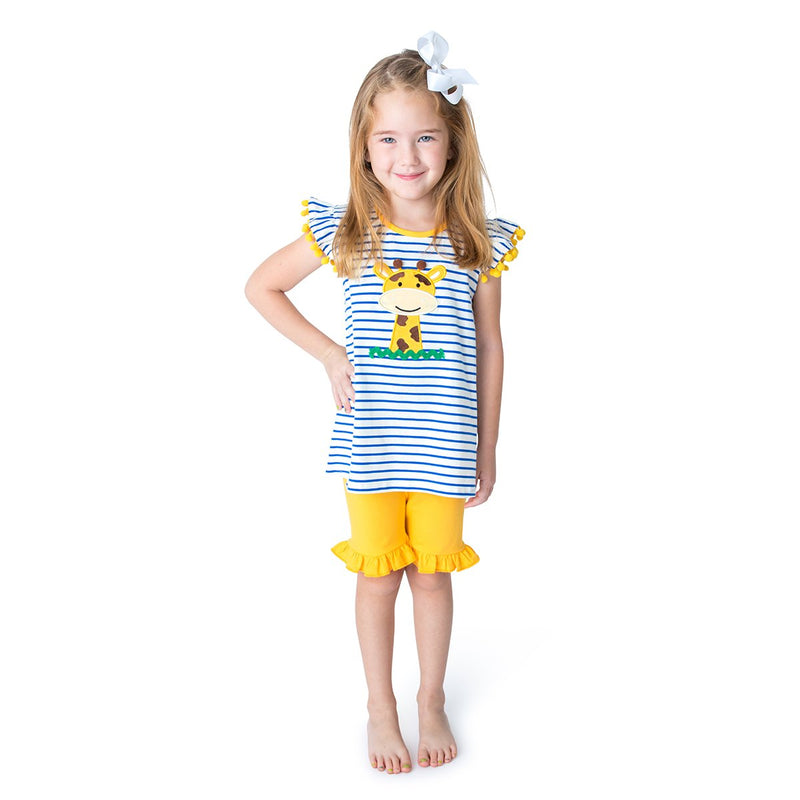 Applique Giraffe Girl's Short Set