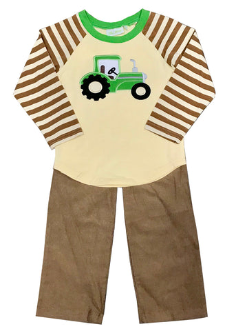 Applique Tractor Green Striped Boy's Pants Set