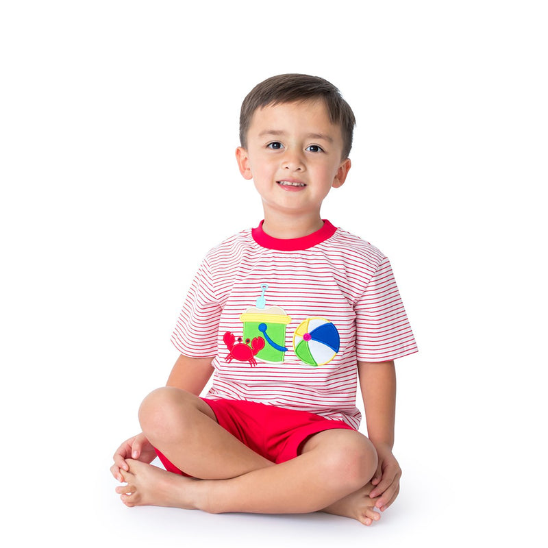 Boy's Short Set with Applique Beach Ball and Bucket