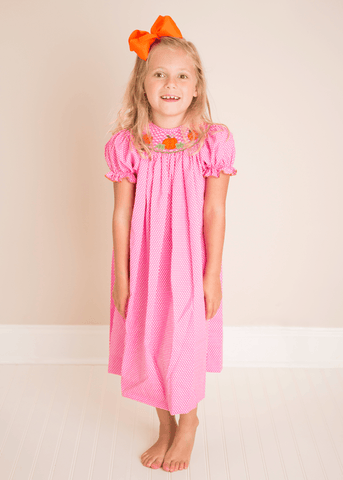 Hand Smocked Pumpkin Pink Polkadot Bishop Dress