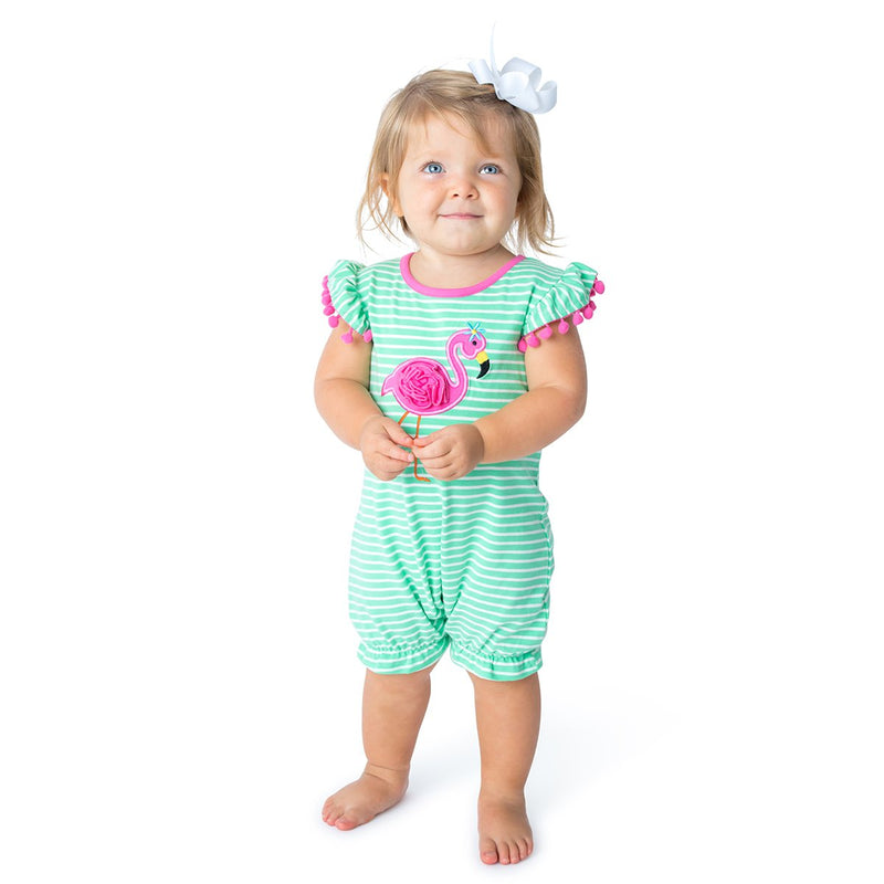 Baby girl's romper with a Flamingo Applique