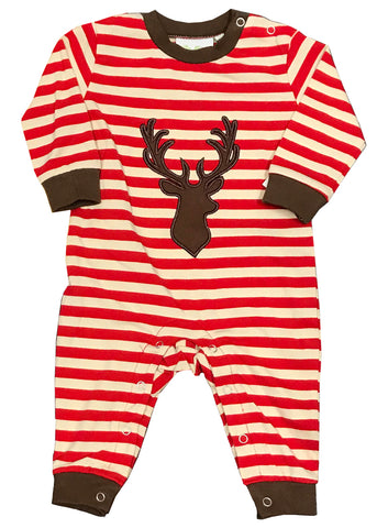 Applique Deer Red Striped Boy's Romper