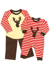 Boy's Applique Deer Red Striped Pants Set with matching brother romper