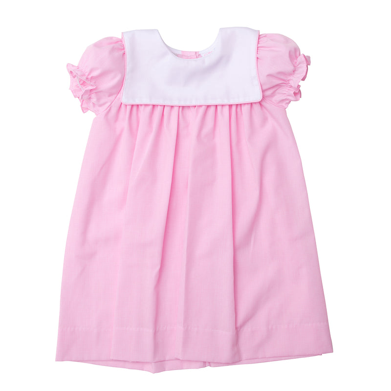 Pink Girl's Dress with White Collar